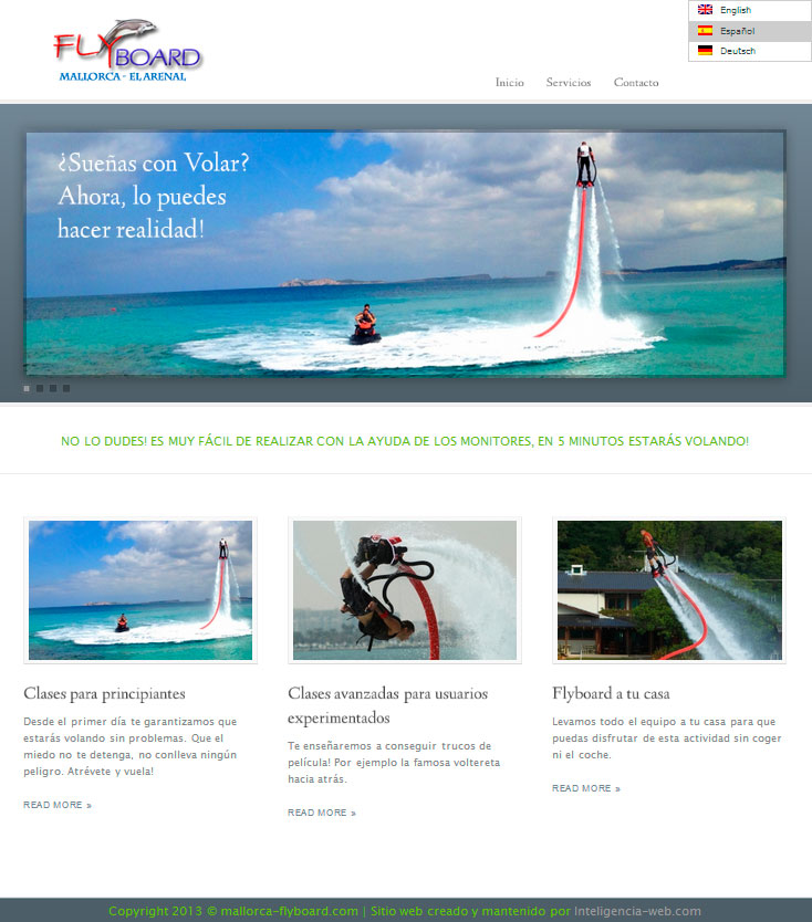 Marbella web design. Fly board