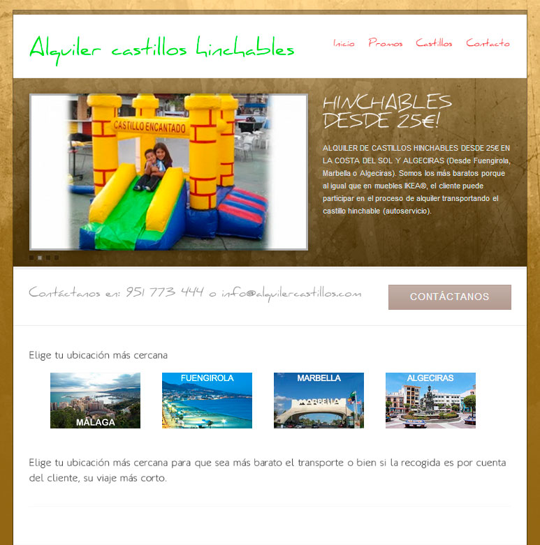 Marbella web design. Alquiler de castillos hinchables en la costa del sol