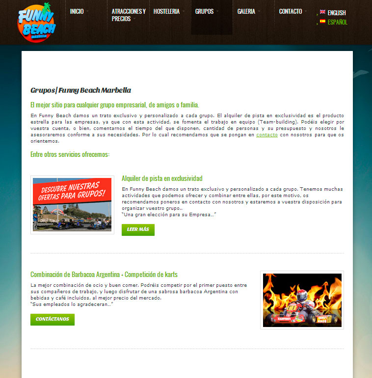 Marbella web design. Park of attractions in Marbella