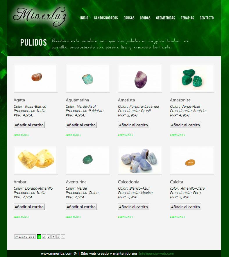Marbella web design. Tienda virtual de minerales