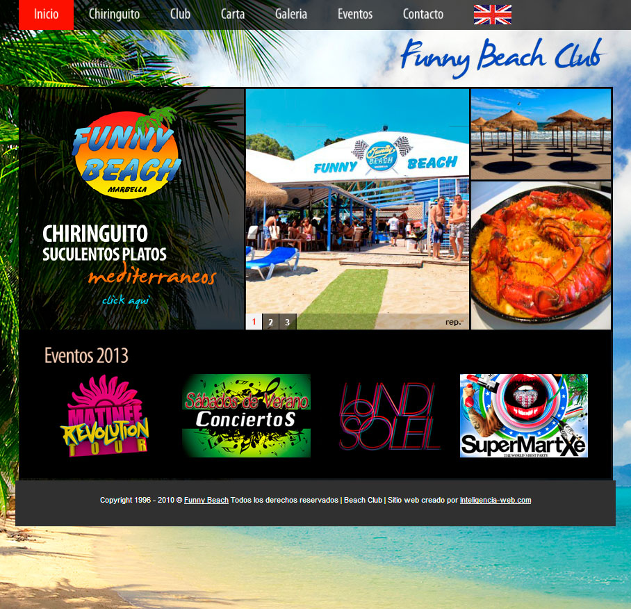 Marbella web design. Beach Club en Marbella