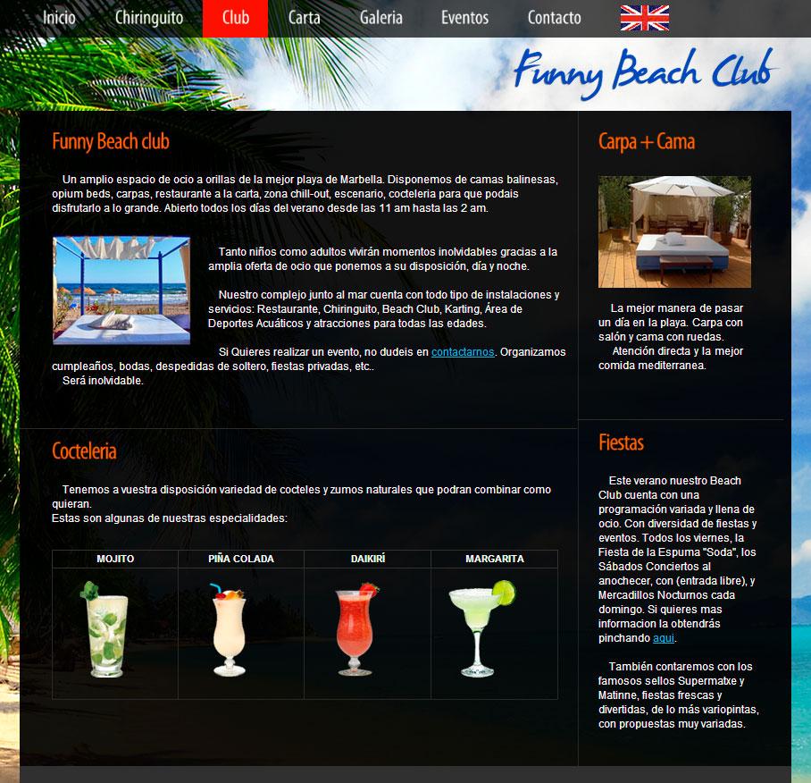 Diseño web Marbella. Beach Club en Marbella