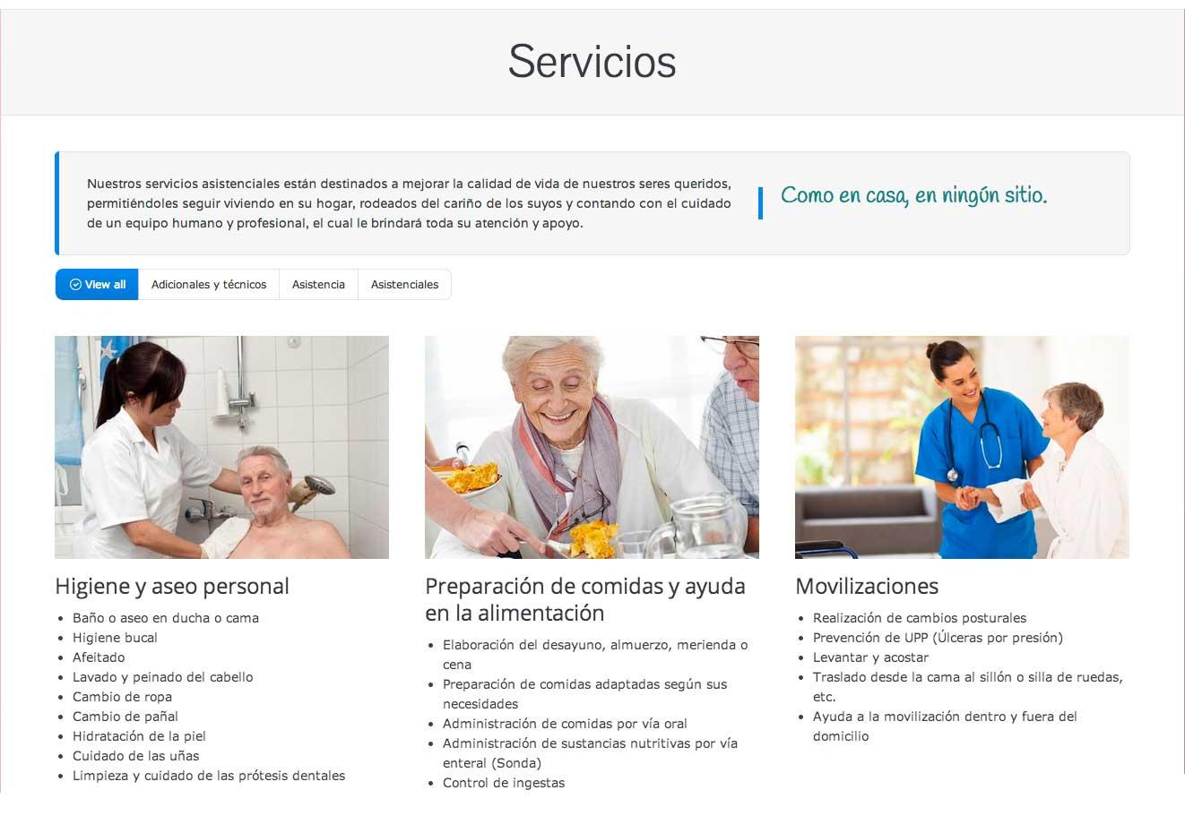 Marbella web design. Auxiliary nursing services