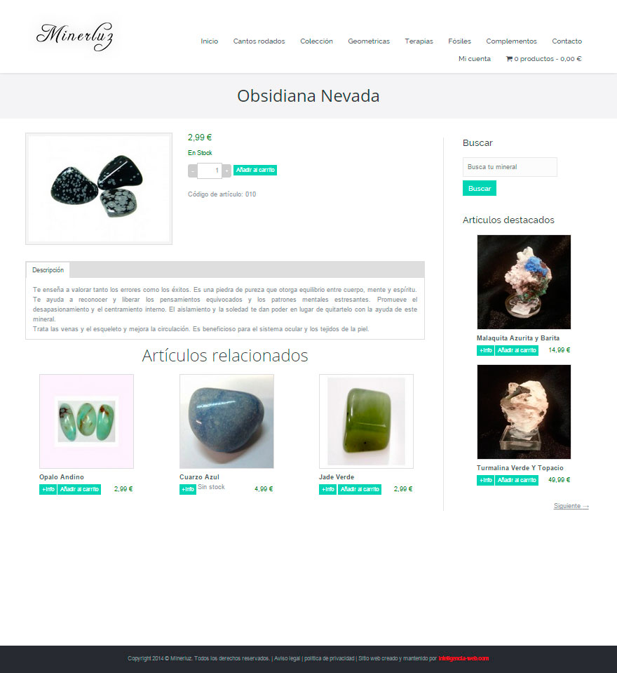 Diseño web Marbella. Tienda online de minerales