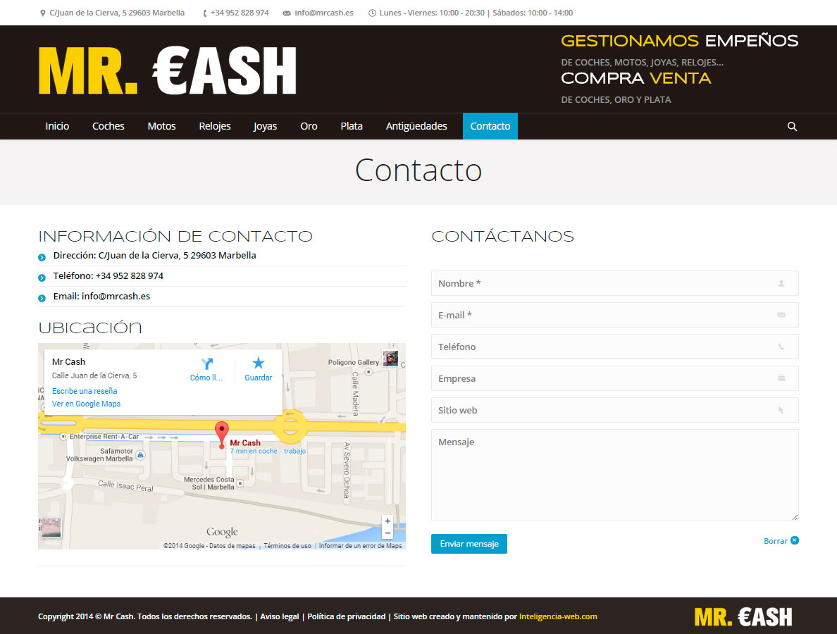 Marbella web design. Casa de empe&ntildeos, compraventa de artículos y vehículos, On-line shop.