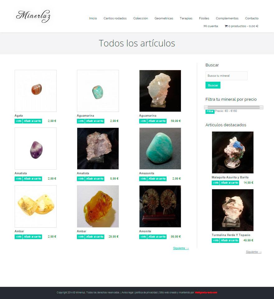 Marbella web design. Tienda online de minerales