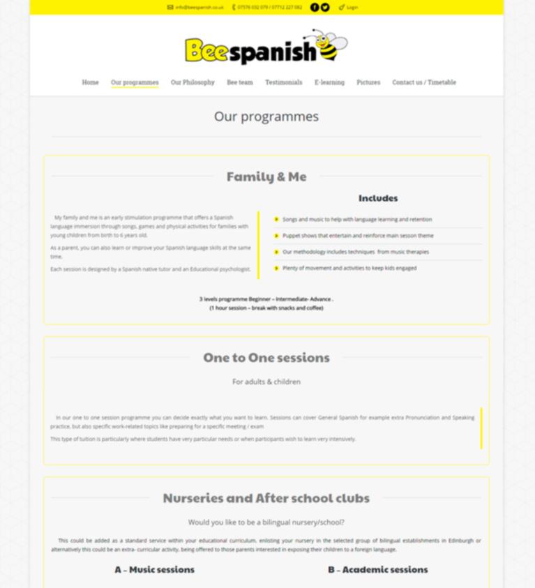 Diseño web Marbella, escuela de español en Edimburgo