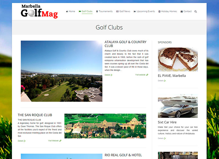 Revista online, Página de categorías