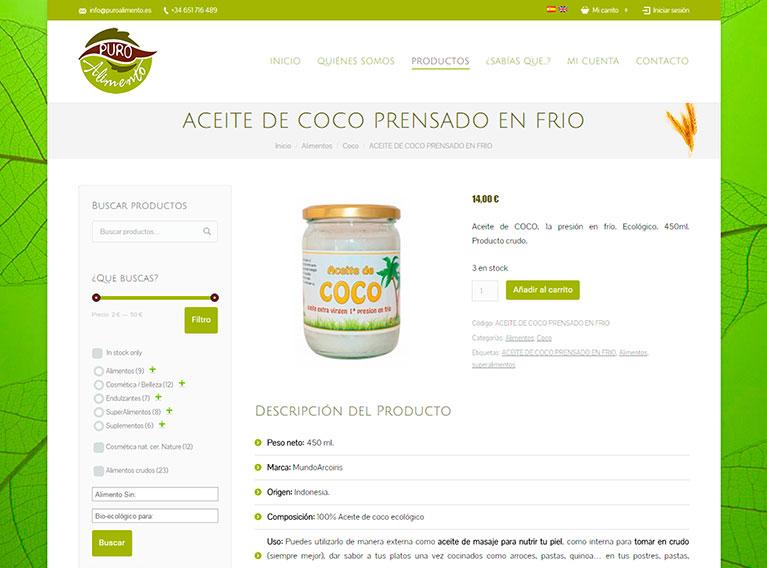 Tienda Online ,Página de productos